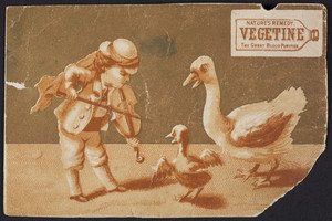 Trade card for Vegetine, the great blood purifier, H.R. Stevens, No. 464 Broadway, Boston, Mass. and Toronto, Ontario, 1880
