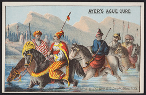 Trade card for Ayer's Ague Cure, manufactured by J.C. Ayer & Co., Lowell, Mass., undated