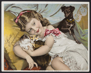Trade card for Scott's Emulsion of Cod Liver Oil, Scott & Bowne, New York and London, 1887