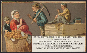 Trade cards for Barrett's Rock Candy & Hermitage Rye, Depot, 45 North Market Street, Boston, Mass., 1877