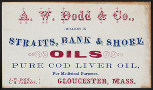 Trade card for Straits, Bank & Shore Oils, pure cod liver oil, A.W. Dodd & Co., Gloucester, Mass., undated