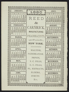 Trade card for Maltine, Reed & Carnrick, manufacturing pharmacists, 196-8 Fulton Street, New York, New York, 1880