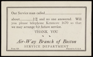 Trade card for Air-Way Branch of Boston, Service Department, Air-Way Electric Appliance Corporation, Toledo, Ohio, 1930s