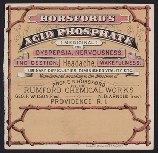 Trade card for Horsford's Acid Phosphate, Rumford Chemical Works, 58, 59, & 60 South Water Street, Providence, Rhode Island, undated