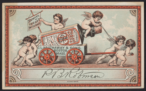 Trade card for Hauthaways Peerless Gloss for ladies and children boots and shoes, C.L. Hauthaway & Sons, Boston, Mass., undated