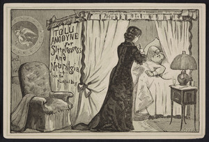 Trade card for Hunnewell's Tolu Anodyne for sleeplessness and neuralgia, Gilman Brothers, Boston, Mass., undated