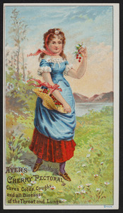 Trade card for Ayer's Cherry Pectoral, cures colds, coughs and all diseases of the throat and lungs, prepared by Dr. J.C. Ayer & Co., Lowell, Mass., undated