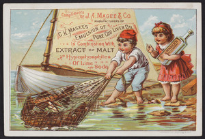 Trade card for C.K. Magee's Emulsion of Pure Cod Liver Oil, J.A. Magee & Co., location unknown, undated