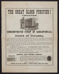 Handbill for Choate's Concentrated Syrup of Sarsaparilla with iodide of potassa, Henry A. Choate, druggist, Bowdoin Square, Boston, Mass., undated