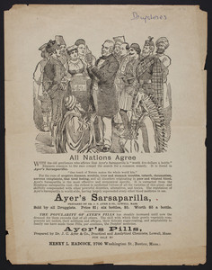 Handbill for Ayer's Sarsaparilla, Dr. J.C. Ayer & Co., Lowell, Mass., undated