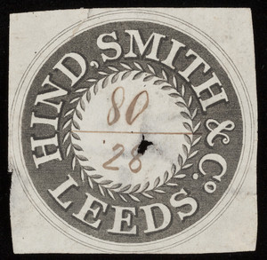 Label for Hind, Smith & Co., cloth, Leeds, England, undated