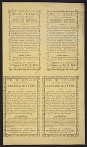 Advertisements for Dr. R. Hall's Jaundice Bitters and Strengthening & Rhumatic Plaster, Dr. Hall, Birchdale, Concord, New Hampshire, undated