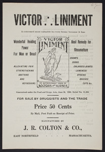 Handbill for Victor Liniment, for man or beast, J.R. Colton & Co., East Northfield, Mass., undated
