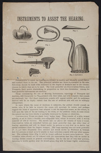 Instruments to assist the hearing, Codman & Shurtleff, 13 and 15 Tremont Street, Boston, Mass., undated