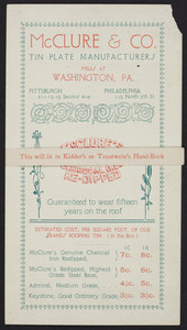 Trade card for McClure & Co., tin plate manufacturers, Washington, Pennsylvania, undated