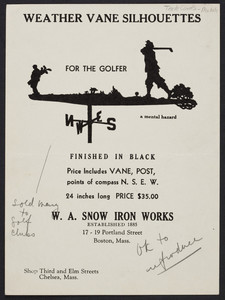 Weather vane silhouettes for the golfer, W.A. Snow Iron Works, 17-19 Portland Street, Boston, Mass., undated