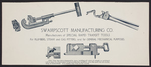 Advertisement for the Swampscott Manufacturing Co., manufacturers of special rapid transit tools, Swampscott, Mass., undated