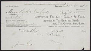 Billhead for Fuller, Dana & Fitz, importers of tin plates and metals, 110 North Street, Boston, Mass., dated October 24, 1884