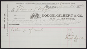 Billhead for Dodge, Gilbert & Co., iron and steel, No. 45 Oliver Street, Boston, Mass., dated January 24, 1880