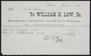 Billhead for William H. Low, Dr., manufacturer of all kinds of iron work for buildings, No. 7 Province Court, Boston, Mass., dated June 1, 1879