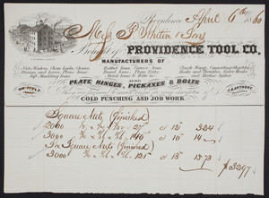 Billhead for the Providence Tool Co., iron manufacturer, Providence, Rhode Island, dated April 6, 1860