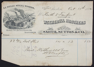 Billhead for Wetherell Brothers, agents, 31 Oliver Street, Boston, Mass., dated October 11, 1884