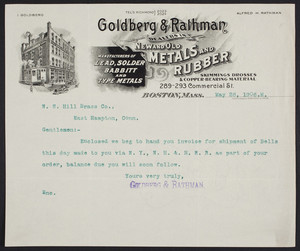Letterhead for Goldberg & Rathman, dealers in new and old metals and rubber, 289-293 Commercial Street, Boston, Mass., dated May 26, 1906