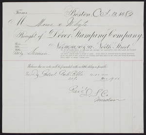 Billhead for the Dover Stamping Company, Nos. 86, 88, 90 & 92 North Street, Boston, Mass., dated October 13, 1883