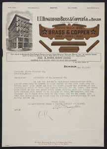 Letterhead for the U.T. Hungerford Brass & Copper Co. of Boston, sheets, rolls, wire, Boston, Mass., dated January 20, 1920