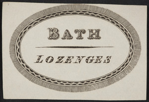 Label for bath lozenges, location unknown, undated