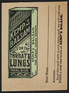 Trade card for Kemp's Balsam for the throat and lungs, prepared by Orator F. Woodward, Le Roy, New York, undated