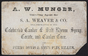 Trade card for the Celebrated Canker & Salt Rheum Syrup, Certate and Canker Cure, S.A. Weaver & Co., undated