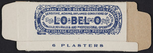 Box for Lo-Belo Plasters, manufactured by Bryant Manufacturing Co., Arlington, Mass., undated