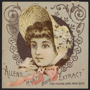 Trade card for Allen's Root Beer Extract, prepared only by C.E. Carter, pharmacist, Lowell, Mass., undated