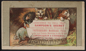 Trade card for Sampson's Secret and Frothingham's Mandrake Pills, Frothingham & Underhill, Washington Square Drug Store, location unknown, undated