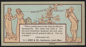 Trade card for Hood's Sarsaparilla, C.I. Hood & Co., apothecaries, Lowell, Mass., 1877
