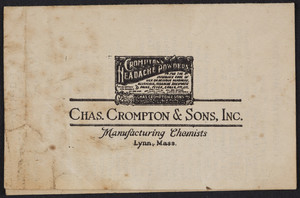 Leaflet for Chas. Crompton & Sons, Inc., manufacturing chemists, 106 Ontario Street, Lynn, Mass., undated