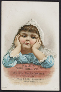 Trade card for Hood's Vegetable Pills, C.I. Hood & Co., apothecaries, Lowell, Mass., undated