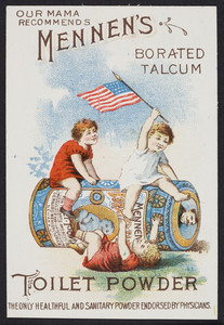 Trade card for Mennen's Borated Talcum Toilet Powder for infants and adults, G. Mennen Chemical Co., 577 Broad Street, Newark, New Jersey, undated