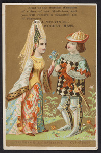 Trade card for Melvin's Vegetable Pills, Nerve Liniment and Cough Syrup, Dr. J. Melvin Co., Woburn, Mass., undated