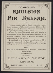 Label for Compound Emulsion Fir Balsam, prepared by Bullard & Shedd, druggists, Keene, New Hampshire, undated