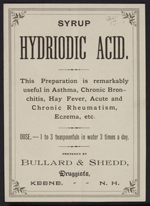 Label for Syrup Hydriodic Acid, prepared by Bullard & Shedd, druggists, Keene, New Hampshire, undated