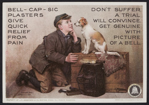 Trade card for Bell-Cap-Sic Plasters, J.M. Grosvenor & Co., Boston, Mass., 1899