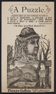 Trade card for Phenyo-Caffein, pills, Phenyo-Caffein Co., Worcester, Mass., undated