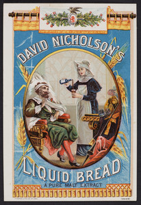 Trade card for David Nicholson's Liquid Bread, David Nicholson, St. Louis, Missouri and P.O. Box 961, New York, New York, 1885