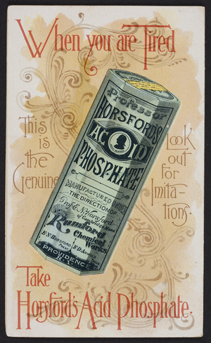 Brochure for Horsford's Acid Phospate, Rumford Chemical Works, 58, 59, & 60 South Water Street, Providence, Rhode Island, 1891