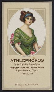 Trade card for Athlophoros, rheumatism and neuralgia, The Athlophoros Co., New Haven, Connecticut, undated
