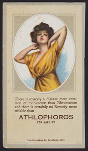 Trade card for Athlophoros, rheumatism, The Athlophoros Co., New Haven, Connecticut, undated
