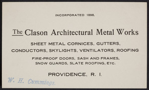 Trade card for The Clason Architectural Metal Works, Providence, Rhode Island, undated