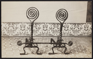 Postcard of spiral andirons, A.J.H. Turner Iron Work, Isle au Haut, Maine, undated